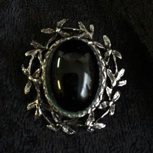 Jewelry - Unique oval silver & black brooch or pendant n001